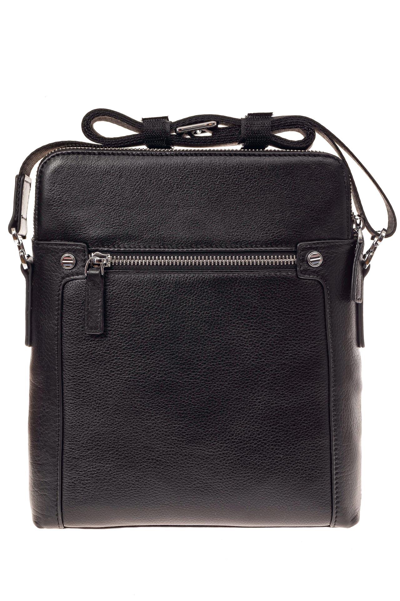 На фото 3 - Мужская сумка через плечо из натуральной кожи, цвет черный
