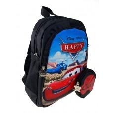 На фото 1 - Маленький детский рюкзачок с мультяшным принтом и кошельком, цвет чёрный