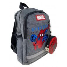 На фото 1 - Детский рюкзачок с ярким принтом и кошельком, цвет серый