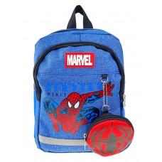 На фото 1 - Детский рюкзачок с ярким принтом и кошельком, цвет джинс