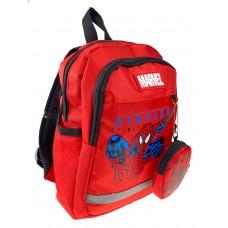 На фото 1 - Детский рюкзачок с ярким принтом и кошельком, цвет красный