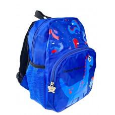 На фото 1 - Детский рюкзак с динозавриками, цвет синий