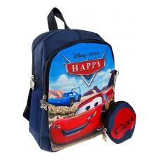 На фото 1 - Маленький детский рюкзачок с мультяшным принтом и кошельком, цвет тёмно-синий