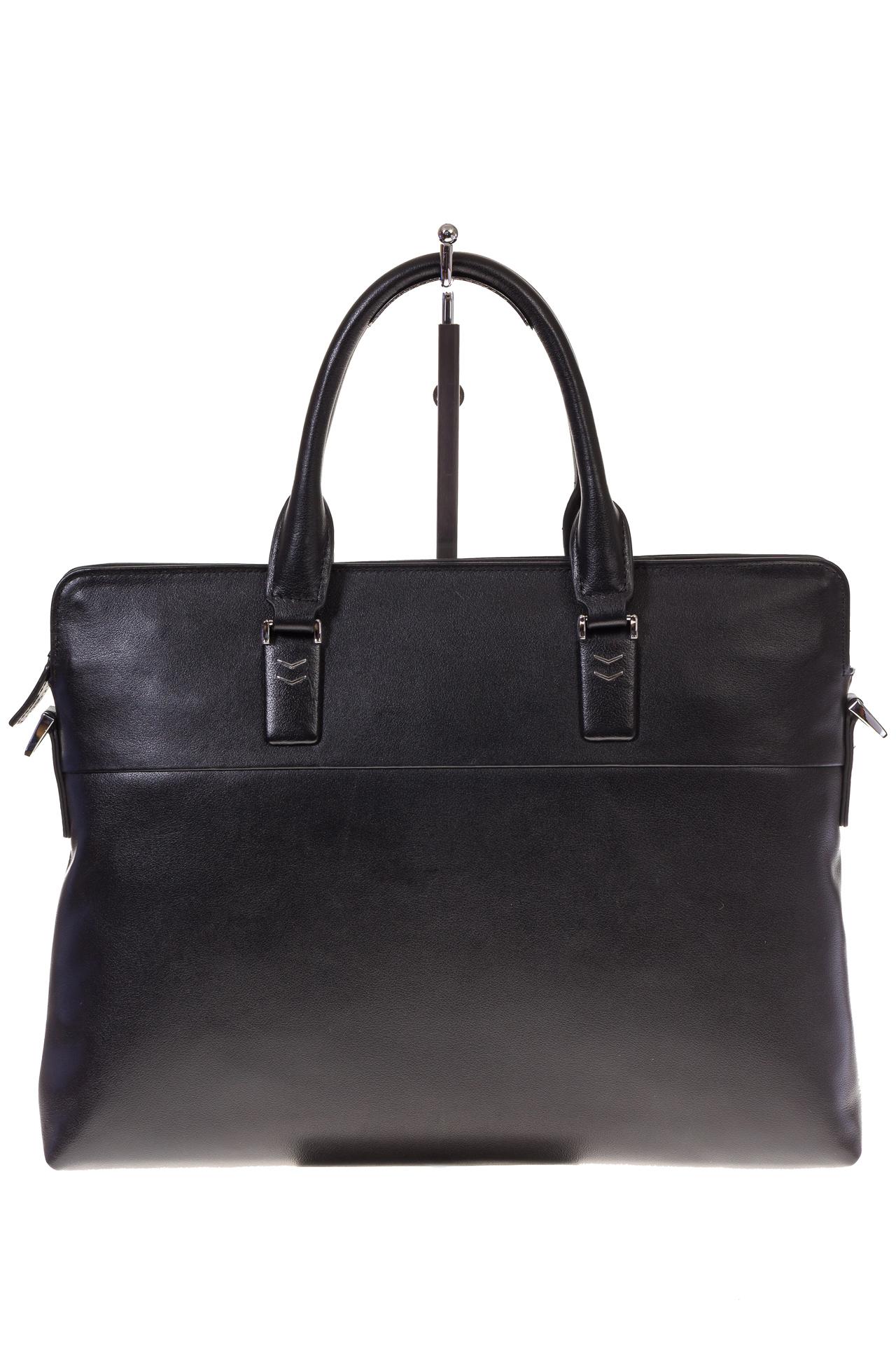 На фото 2 - Черная папка-портфель из натуральной кожи