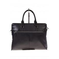 На фото 3 - Черная папка-портфель из натуральной кожи