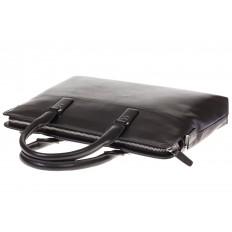 На фото 4 - Черная папка-портфель из натуральной кожи