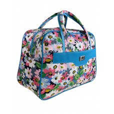 На фото 1 - Тканевая женская сумка для фитнеса с принтом цветов, мультицвет