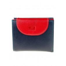 На фото 1 - Женский кожаный кошелёк, цвет чёрный с красным