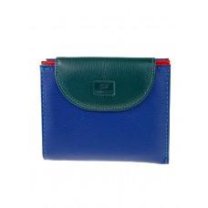 На фото 1 - Женский кожаный кошелёк, цвет тёмно-синий с зелёным