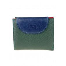 На фото 1 - Женский кожаный кошелёк, цвет зелёный с тёмно-синим