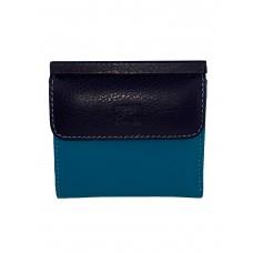 На фото 1 - Маленький женский кошелёк из натуральной кожи, цвет голубой с чёрным