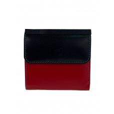 На фото 1 - Маленький женский кошелёк из натуральной кожи, цвет красный с чёрным