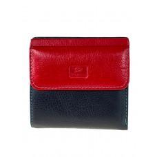 На фото 1 - Женский кошелёк из фактурной натуральной кожи, цвет чёрный с красным
