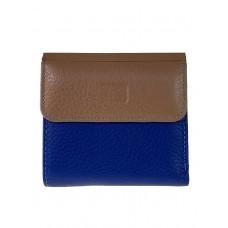 На фото 1 - Женский кошелёк из фактурной натуральной кожи, цвет синий с бежевым