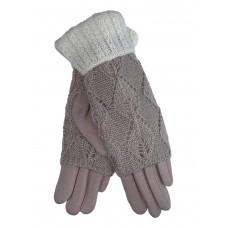 На фото 1 - Текстильные перчатки с шерстяными митенками, цвет бежевый