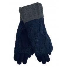 На фото 1 - Текстильные перчатки с шерстяными митенками, цвет тёмно-синий