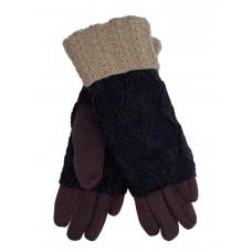 На фото 1 - Текстильные перчатки с шерстяными митенками, цвет шоколад