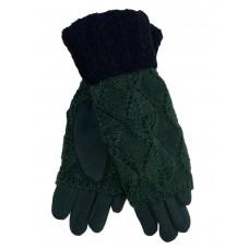 На фото 1 - Текстильные перчатки с шерстяными митенками, цвет тёмно-зелёный