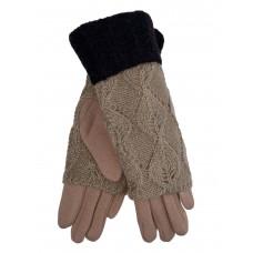 На фото 1 - Текстильные перчатки с шерстяными митенками, цвет песочный