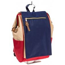 На фото оригинальный молодежный рюкзак, цвет – сине-бело-красный, материал – текстиль, купить оптом в магазине Грета