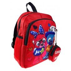 На фото 1 - Рюкзачок детский с милым принтом, цвет красный