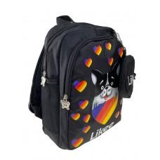 На фото 1 - Детский рюкзак с забавным принтом, цвет чёрный