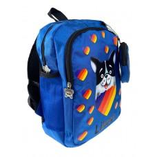 На фото 1 - Детский рюкзак с забавным принтом, цвет синий