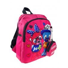 На фото 1 - Рюкзачок детский с милым принтом, цвет фуксия