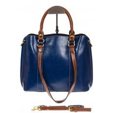 На фото 2 - Синяя женская сумка шоппер-тоут из искусственной кожи