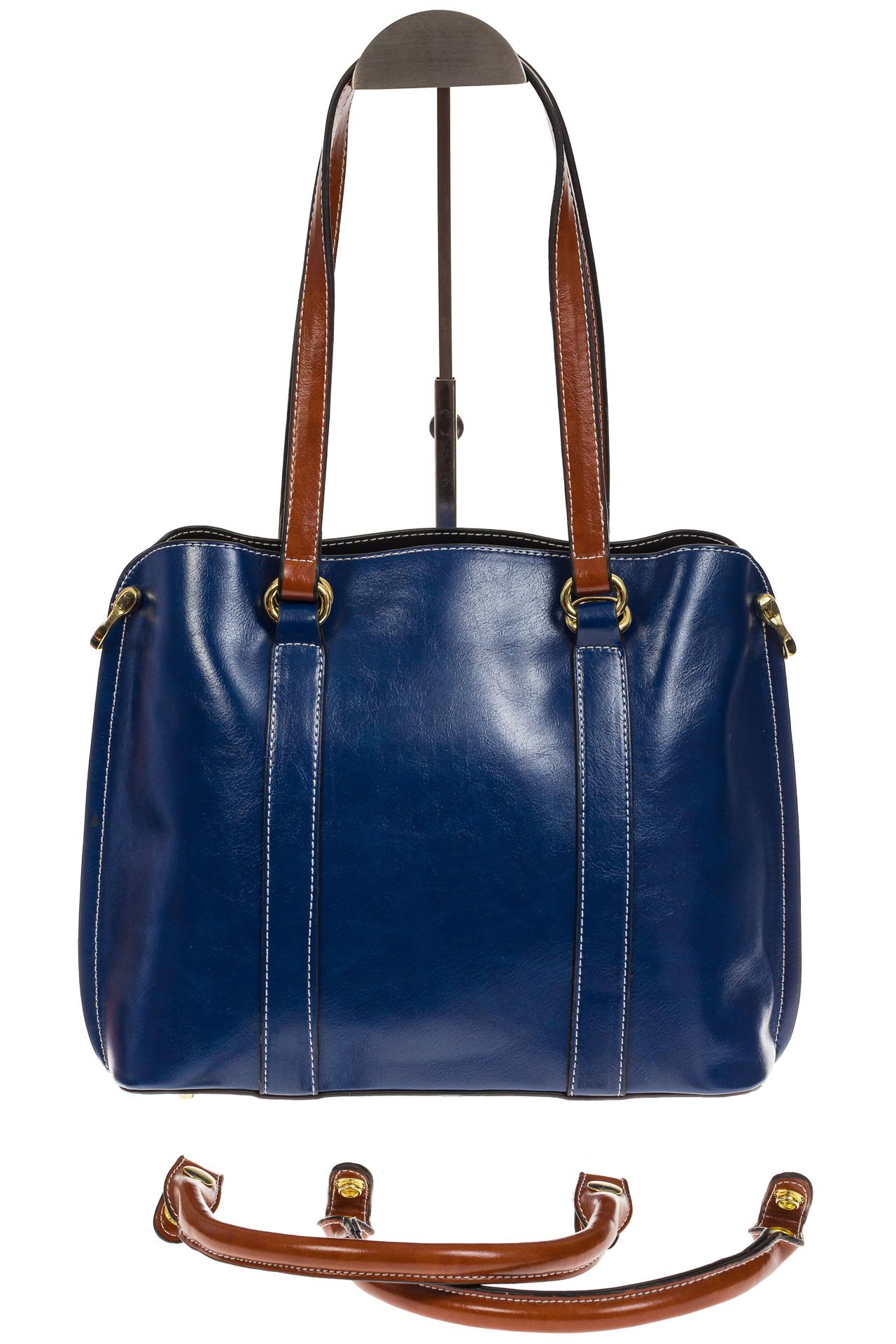 На фото 3 - Синяя женская сумка шоппер-тоут из искусственной кожи