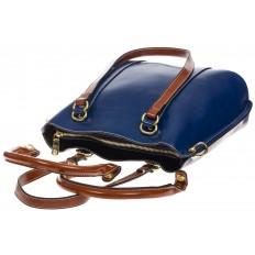 На фото 4 - Синяя женская сумка шоппер-тоут из искусственной кожи