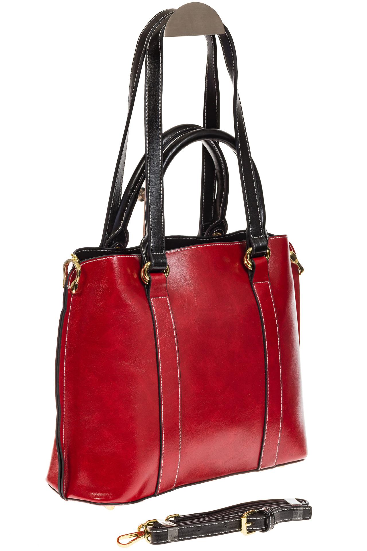 На фото 1 - Красная женская сумка шоппер-тоут из искусственной кожи