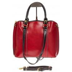 На фото 2 - Красная женская сумка шоппер-тоут из искусственной кожи