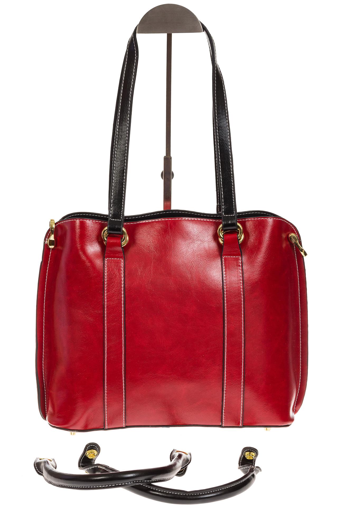 На фото 3 - Красная женская сумка шоппер-тоут из искусственной кожи