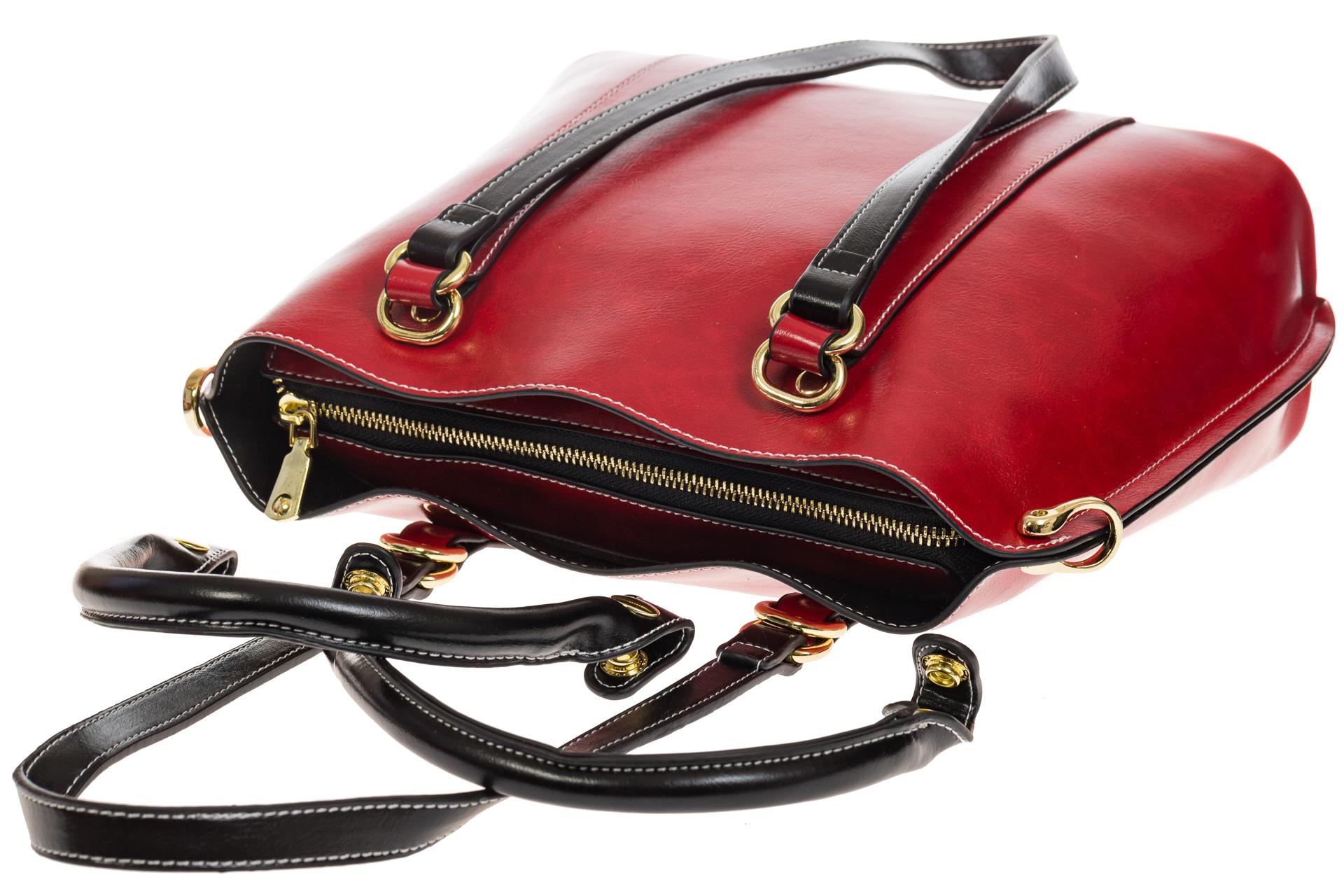 На фото 4 - Красная женская сумка шоппер-тоут из искусственной кожи