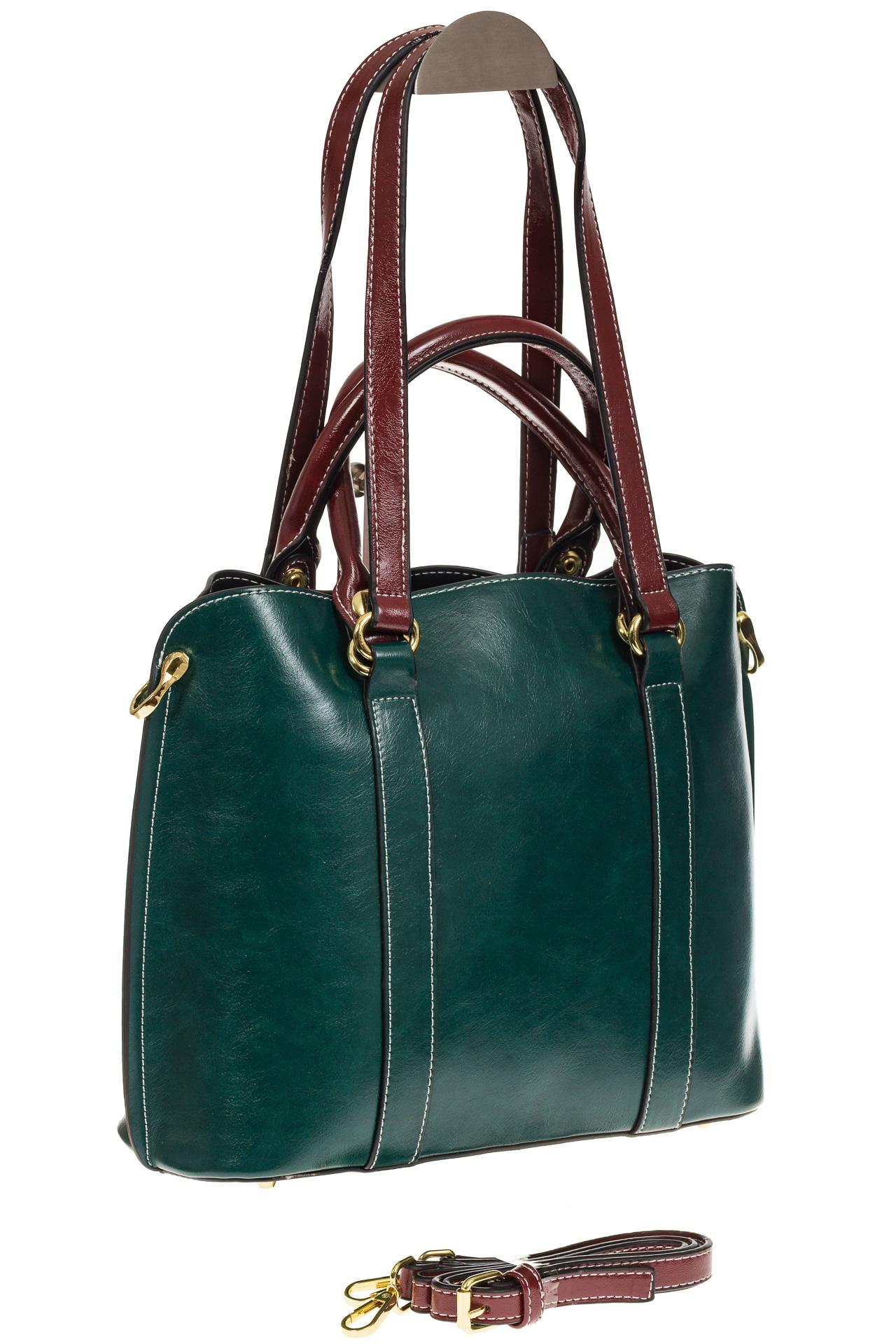На фото 1 - Зеленая женская сумка шоппер-тоут из искусственной кожи