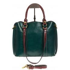 На фото 2 - Зеленая женская сумка шоппер-тоут из искусственной кожи