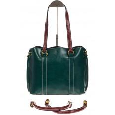 На фото 3 - Зеленая женская сумка шоппер-тоут из искусственной кожи
