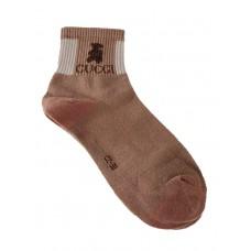 На фото 1 - Женские носки с резинкой и принтом, цвет бежевый
