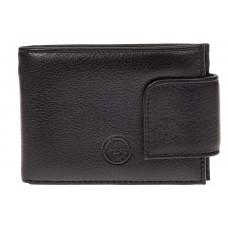 На фото 1 - Классический мужской кошелек из кожи, цвет черный