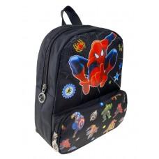 На фото 1 - Чёрный рюкзачок для детей с принтом
