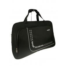 На фото 1 - Большая дорожно-спортивная сумка из текстиля, цвет чёрный с белым
