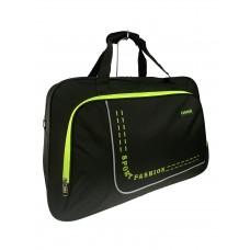 На фото 1 - Большая дорожно-спортивная сумка из текстиля, цвет чёрный с салатовым