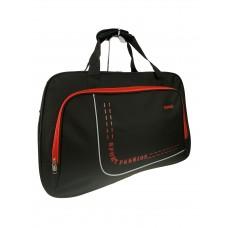 На фото 1 - Большая дорожно-спортивная сумка из текстиля, цвет чёрный с красным