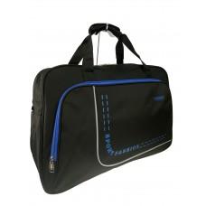 На фото 1 - Большая дорожно-спортивная сумка из текстиля, цвет чёрный с синим