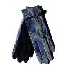 На фото 1 - Женские перчатки из велюра и текстиля со змеиным принтом, цвет синий