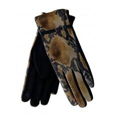 На фото 1 - Женские перчатки из велюра и текстиля со змеиным принтом, цвет рыжий