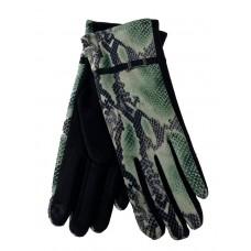 На фото 1 - Женские перчатки из велюра и текстиля со змеиным принтом, цвет зелёный