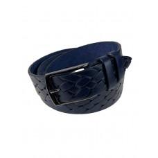 На фото 1 - Мужской ремень из натуральной кожи с крупным плетением, цвет тёмно-синий