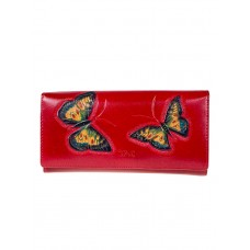 На фото 1 - Женское кожаное портмоне с декором в виде бабочек, цвет рубиновый
